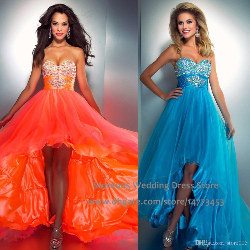 Sparkly Orange Blue High Low Prom Dresses Bow Crystal Graduation ...