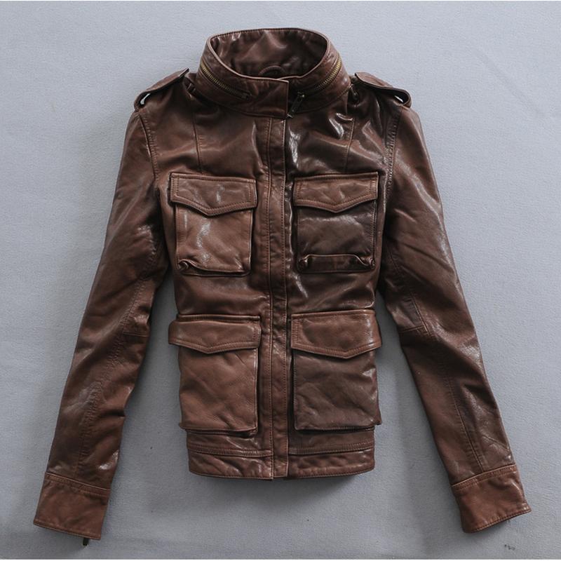 Dark brown leather jacket women