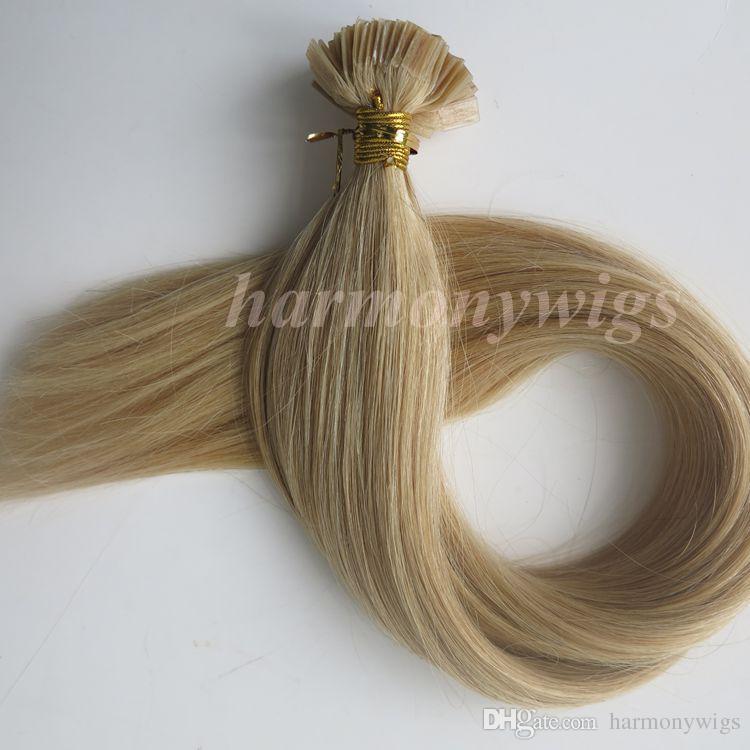 Extensões de cabelo de Ponta plana com ligação Pré 100g 100 Vertentes 18 20 22 24 polegadas # 22 cor Marrom Brasileiro Queratina Indiano cabelo Humano