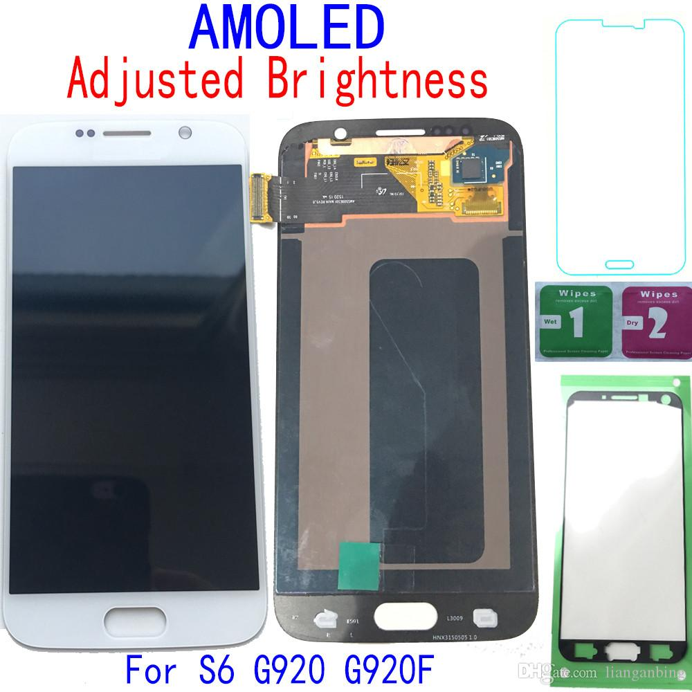 Super AMOLED LCD Display Touch Screen Digitizer For Samsung Galaxy S6 G920 G920F G9200 Black Gold White With Tempered Glass DHL logistics