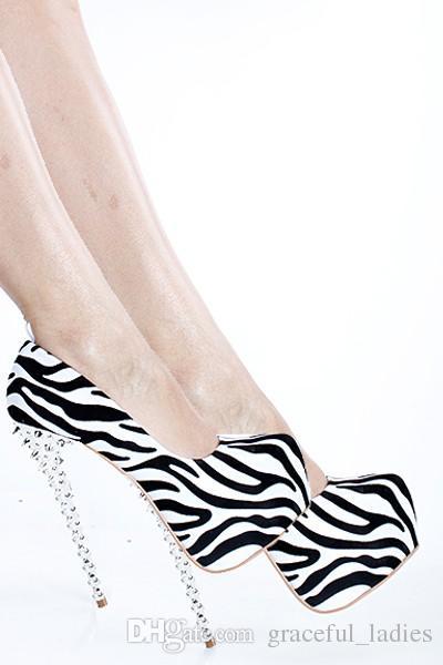 Zebra Sukienka Buty Cienkie wysokie obcasy z przesadnymi platformami nitami Obuwie Kobiety 16 cm Wysokie Stiletto Obszu Pompy Panie Obuwie Damskie Pompy