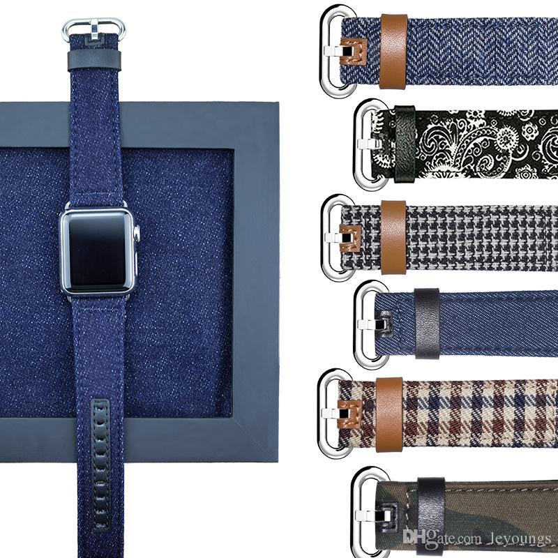 12 Estilo Moda Denim Jeans Estilo Banda para Apple Watch 42mm 38mm 40mm 44mm Correa de tela de cuero para iWatch Band Series 4 3 2 1