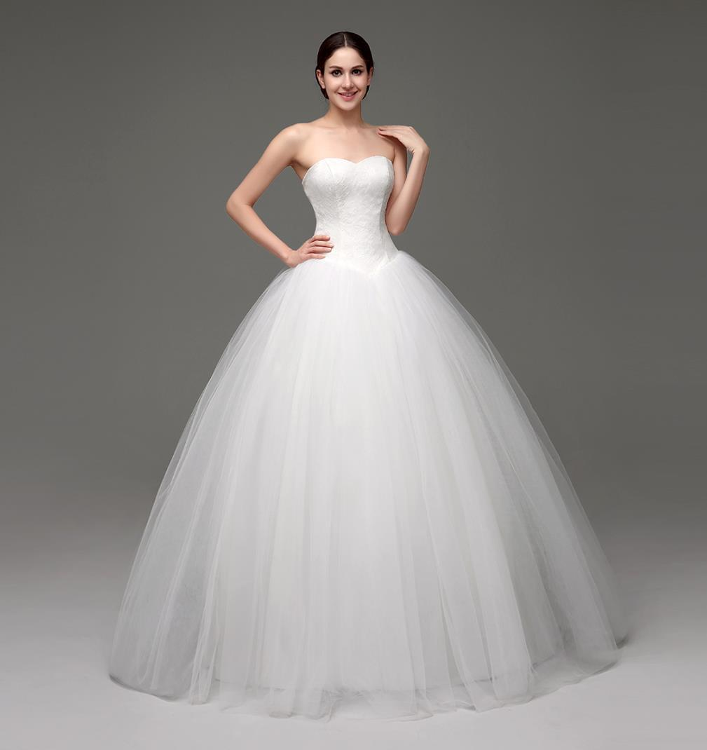 Simple Design Wedding Dresses Cheap Sweetheart Corset Lace Tulle ...