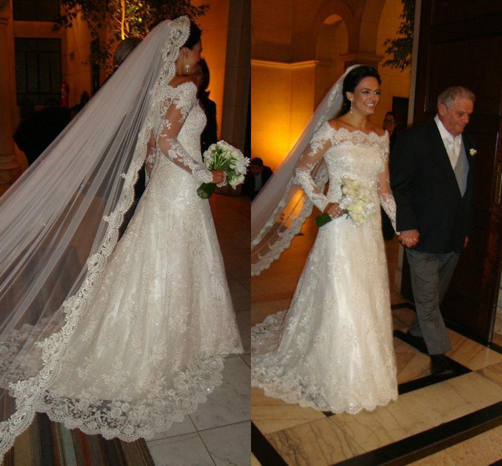 2016 Custom Made Lace Applique Off-Shoulder Long Sleeve A-Line Vintage Wedding Dresses Sexy Bridal Gowns Vestidos Plus Size Exquisite Chic
