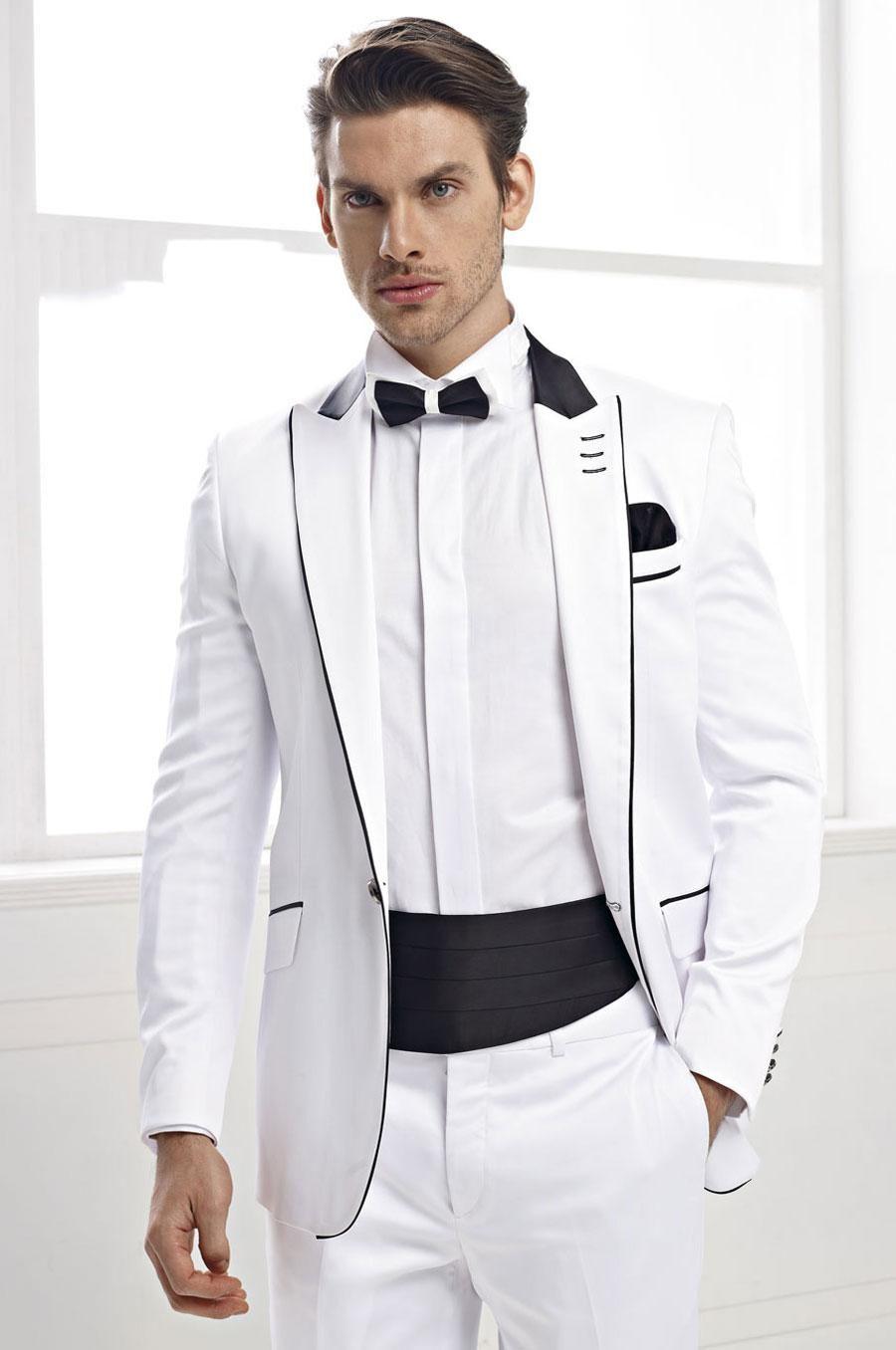 Hot Sale One Button White Groom Tuxedos Peak Lapel Groomsmen Mens ...