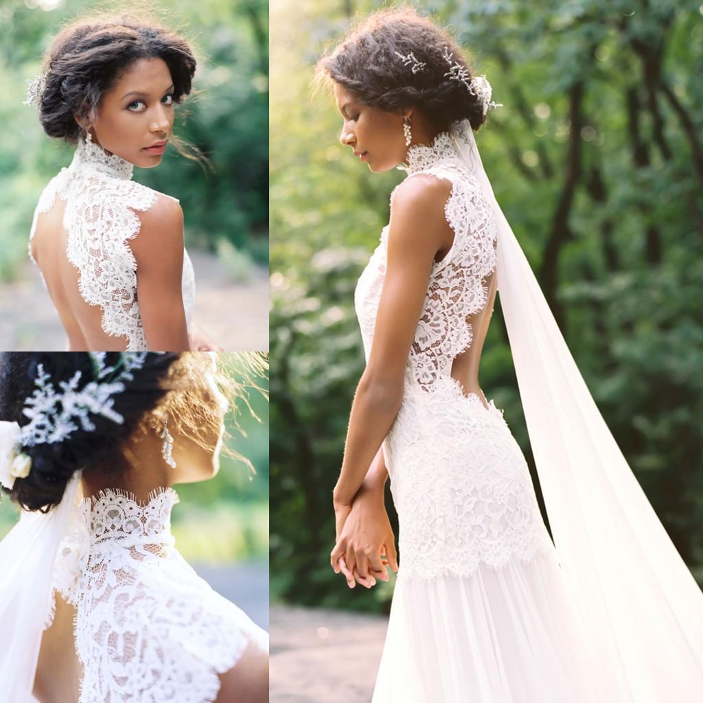 Vintage Lace Beach Chiffon Wedding Dresses 2015 Summer High Neck Backless White Mermiad Long Bridal Gowns Cheap Vestido De Novia Dress Glamorous: Long White Dresses Summer Wedding At Websimilar.org