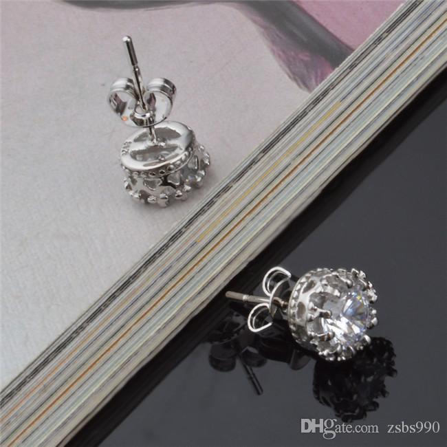 2015 تصميم جديد 925 فضة تشيكوسلوفاكيا الماس ولي أقراط الأزياء والمجوهرات الجميلة الزفاف / الاشتباك هدية شحن مجاني