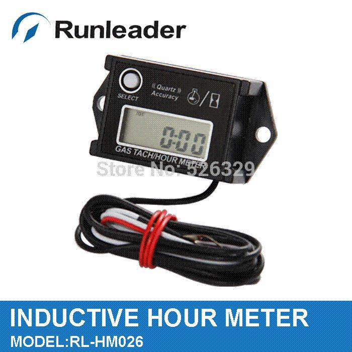 20 pieces/lot)Free Shipping!100% Waterproof Inductive Tachometer Hour Meter  For Mower,Snowmobile,Ski,Pump,Marine,V8 Engine tachometer uni