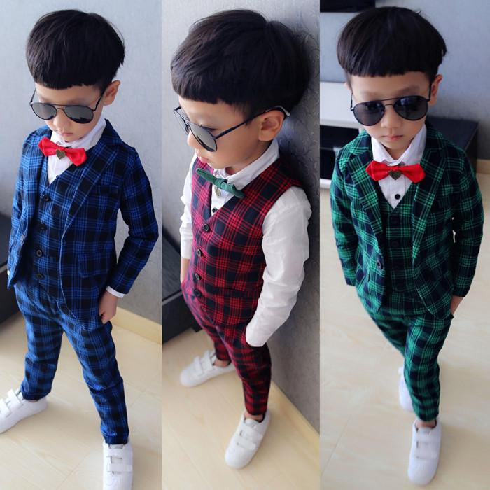 2019 Baby Boy Blazer Suit Vest Pant Kid Clothes Set Fashion Plaid Child Clothing Children Casual Dress Suits From Jjl 16169