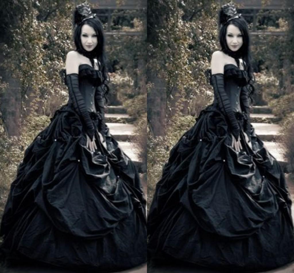 Gothic Wedding Dresses 2016 A Line Strapless Black Taffeta: Discount 2016 Spring Corset Gothic Wedding Dresses A Line