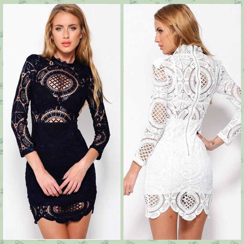 Spring Summer Fashion Vestidos De Renda White Black See Through Women Sexy  Long Sleeve Hollow Lace Mini Bodycon Cocktail Party Dress 22179 Red Party  Dresses ... 6a3e3c7858c0