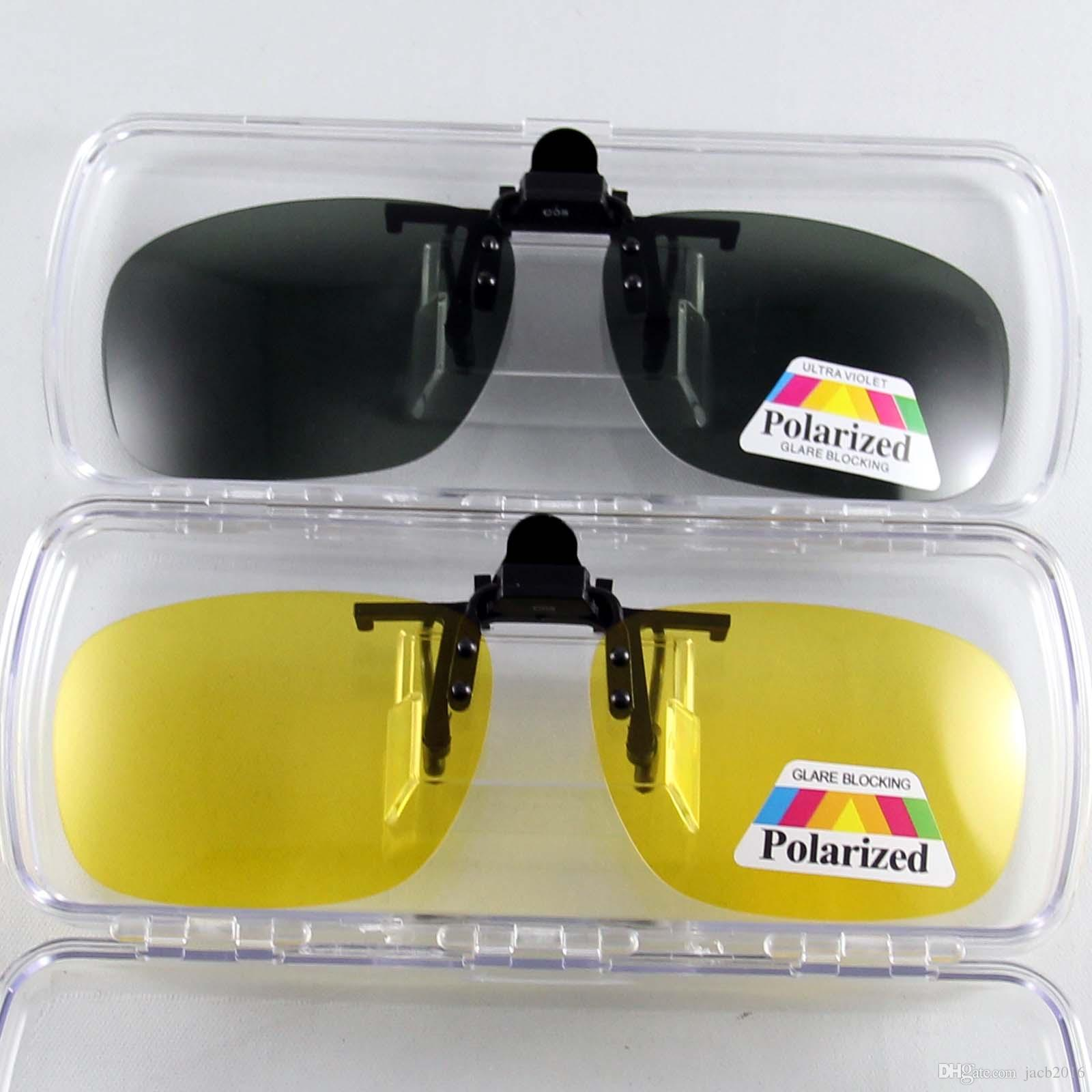 28cdb02bde4 Polarized Sunglasses Clip On Flip Up Sun Glasses Eyewear Eyeglasses Shade  Shield Anti Reflective UV Protect Fishing Driving Black Sunglasses Cycling  ...