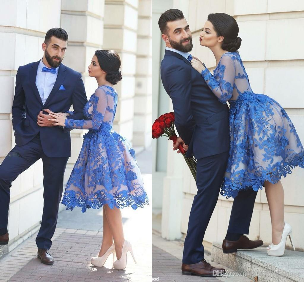 Blue Lace Knee-length Homecoming Dresses with Long Sleeve Custom Make Dubai Arabic Middle East Crew A-line Short Party Prom Dresses