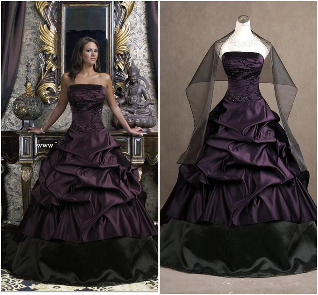 Gothic Black Wedding Dresses Plus Size Ball Gowns Puffy: Plus Size Gothic Wedding Dresses Dark Purple Black Vintage