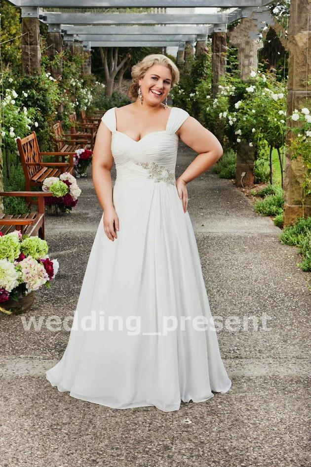 Plus Size Wedding Dresses 2015 Cap Sleeve A Line Lace Up Chiffon Garden Bridal Gowns Sweep Train Beaded Fat Dresses For Wedding