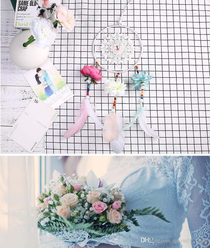 2018 Wedding Decoration Handmade Dream Catcher Net With Feathers Flower Wind Chimes Dreamcatcher Hanging Craft Party Gift
