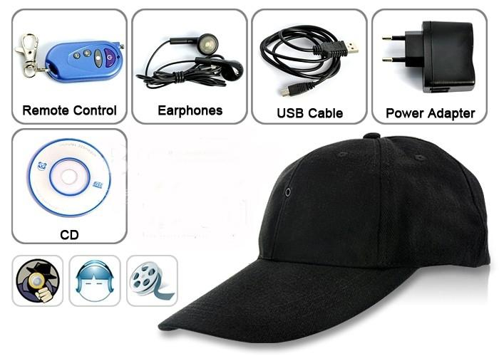 baseball cap video camera mount hidden