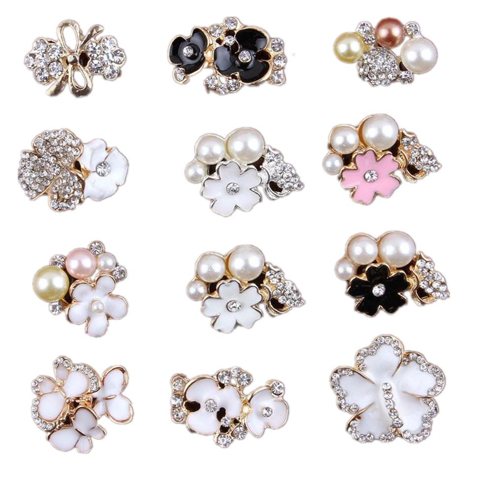 12 Style Pearl Rhinestone Buttons Baby Headbands Accessories Girl Jewelry Accessories Children DIY Accessories for Headbands Hair Clips Hat