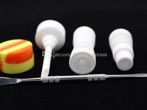 14mm 18mm Homme Femme Céramique Set Nail outil avec Carb Cap Dabber Outil Slicone Pot Nail Dab Container VS titane pour le verre de bongs
