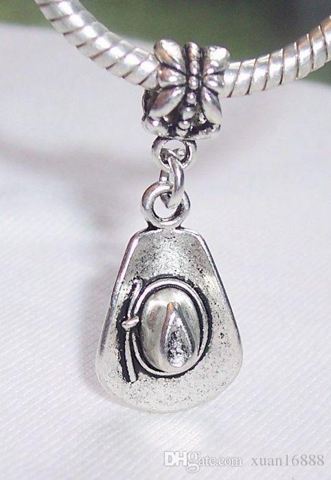 Sıcak ! Antiqued Gümüş Kovboy Şapka Giyim Takı Dangle Boncuk Avrupa Tarzı Charm Bilezik için 32mm x 13.5mm