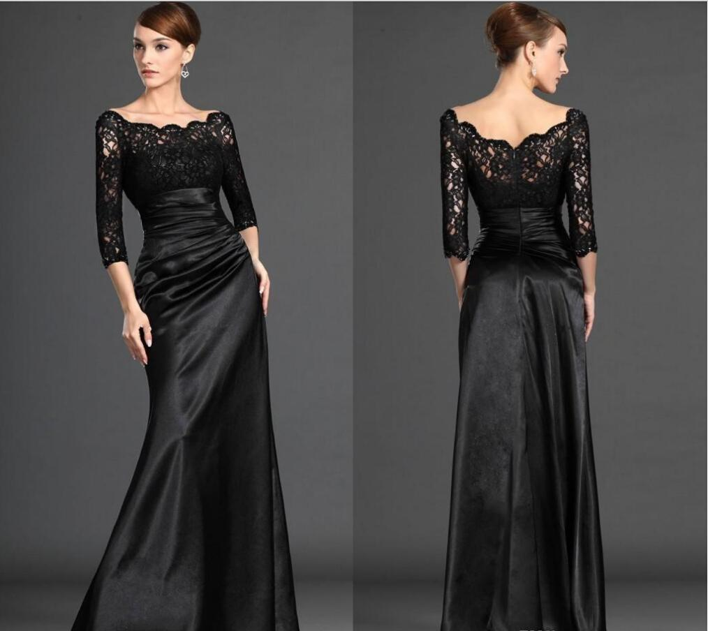 2015 Black Long Sleeve Lace Mother Dresses Sexy Off Shoulder 3/4 Sleeves Sheath Satin Prom Evening Dresses Mother Of The Bride Dresses EB215