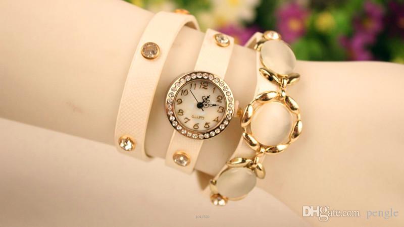 Marka Nowy Wrap Kobiety Lady Wrist Zegarki Okrągłe Dial Uroczy Bransoletki Zegarki Mix Kolory Darmowa Wysyłka Drop Shipping