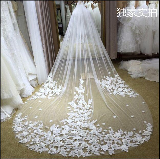 3M Long Cinderella Court Tulle Wedding Weits One One One Color Color, как изображение 3D искусственные цветочные свадьбы