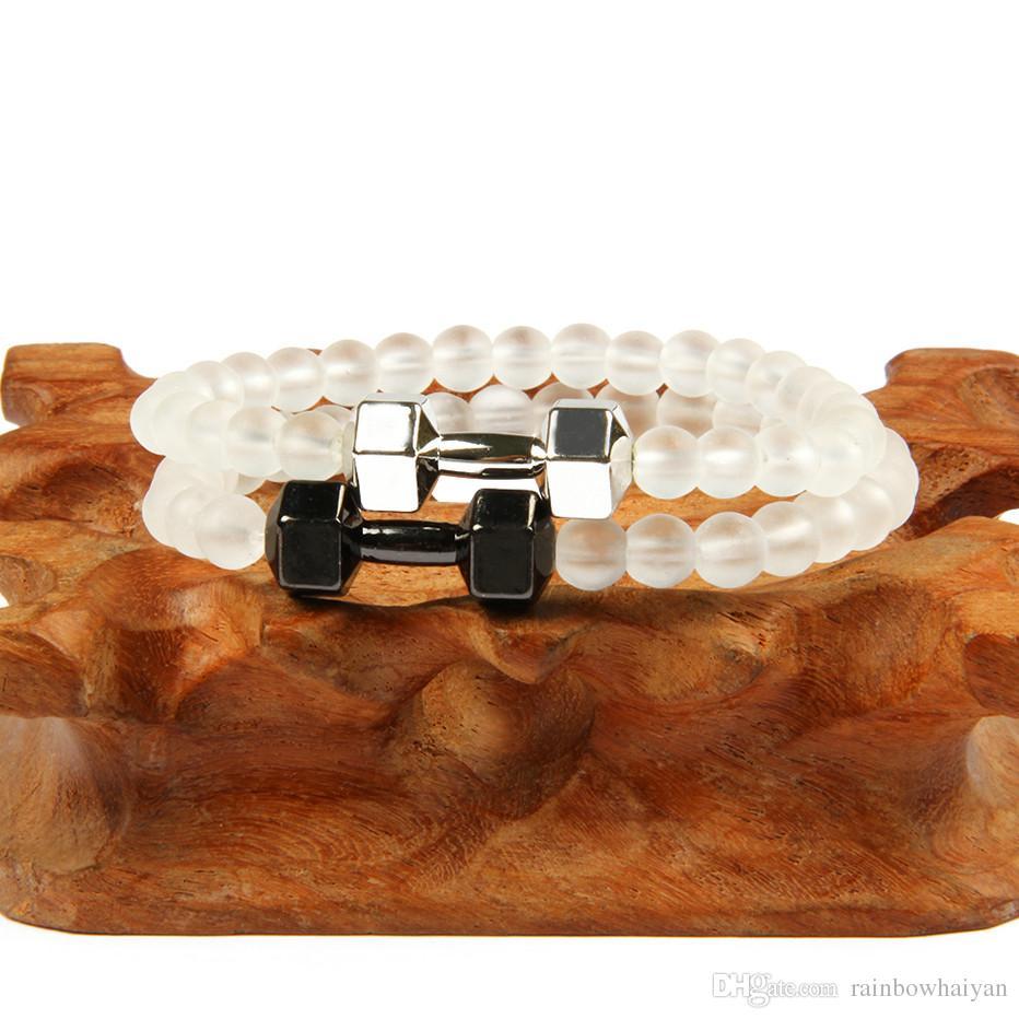 Nuovo arrivo 6mm perline di vetro smerigliato Lega fitness manubri uomini bilanciere bracciali energia, argento oro gioielli Dumbell