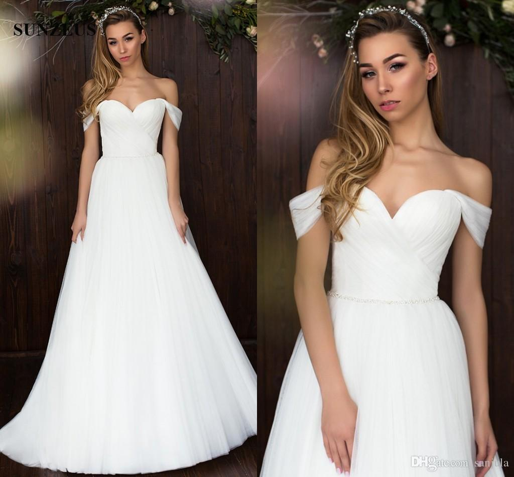 Discount simple elegant long tulle wedding dresses for brides 2018 discount simple elegant long tulle wedding dresses for brides 2018 spring summer fashion sweetheart off shoulder brides gowns with pleats wedding dresses ombrellifo Gallery