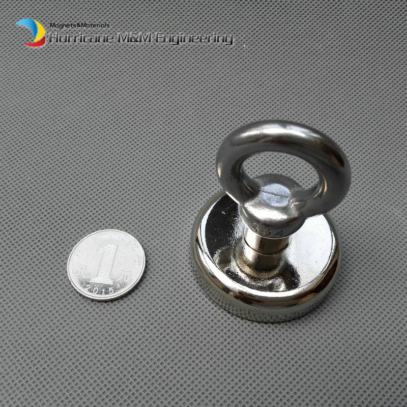 60kg Pulling Mounting Magnet Dia48 x 11.7 mm Magnetic Pots with Hook or Ring Lifting Strong Magnet Neodymium Permanent Magnets NiCuNi