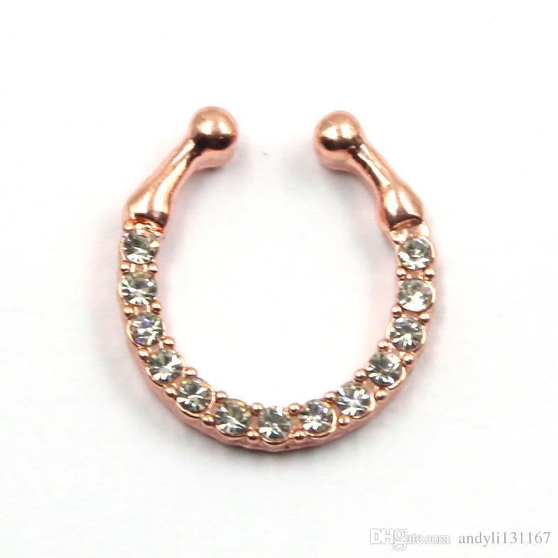 gold silver round nose fake septum ring and stud crystal nose ring fake septum piercing N0031