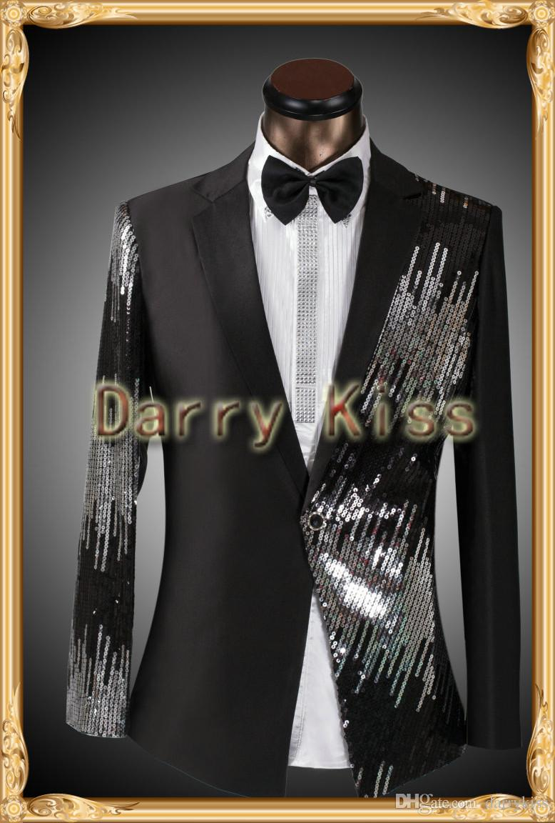 2015 Tuxedos wedding suits for men 2014 plus size clothing set groom suits smoking red jacket mens sequin tuxedo best prom suits DK