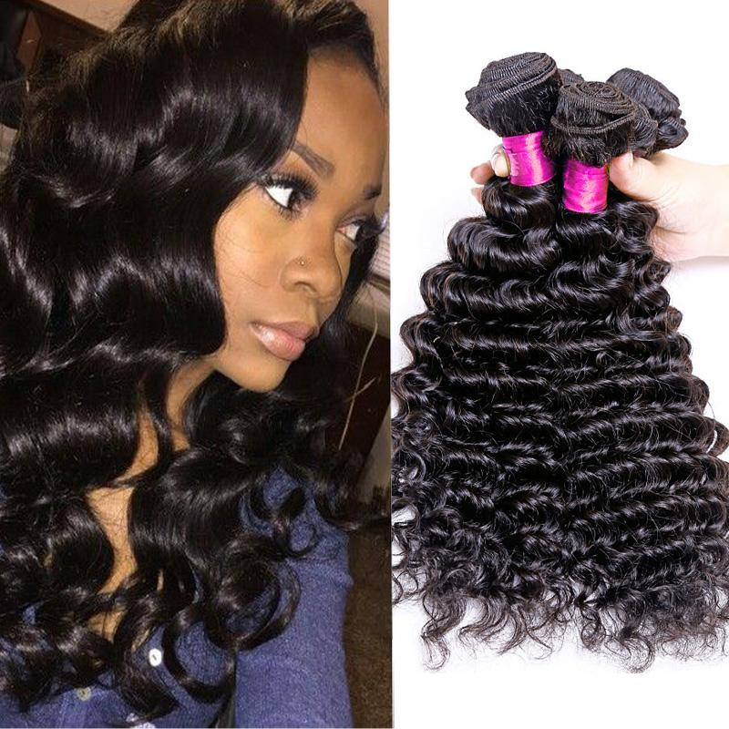 7a Brazilian Malaysian Mongolian Deep Curly Hair Extensions Natural