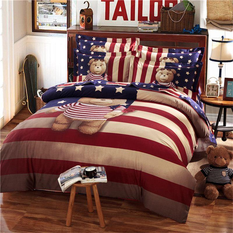 Teddy Bear Bedding Set Kids King Size Queen Twin Cartoon Quilt Doona Duvet  Cover Western 100% Cotton Bed Sheets Bedspreads Striped Linen Modern Duvet  Covers ...
