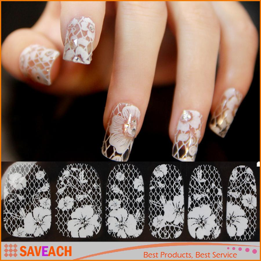 2016 New Arrival Fashion 3d Nail Art Lace Nail Stickers Decals White