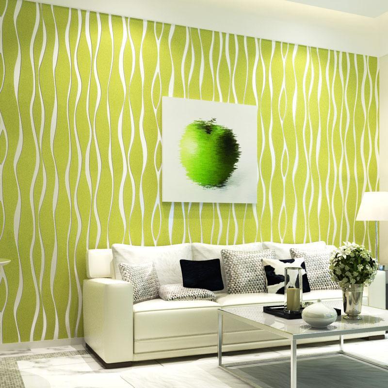 Modern Wave Stripe Non Woven Wallpaper Roll Glitter Flocking Wall ...