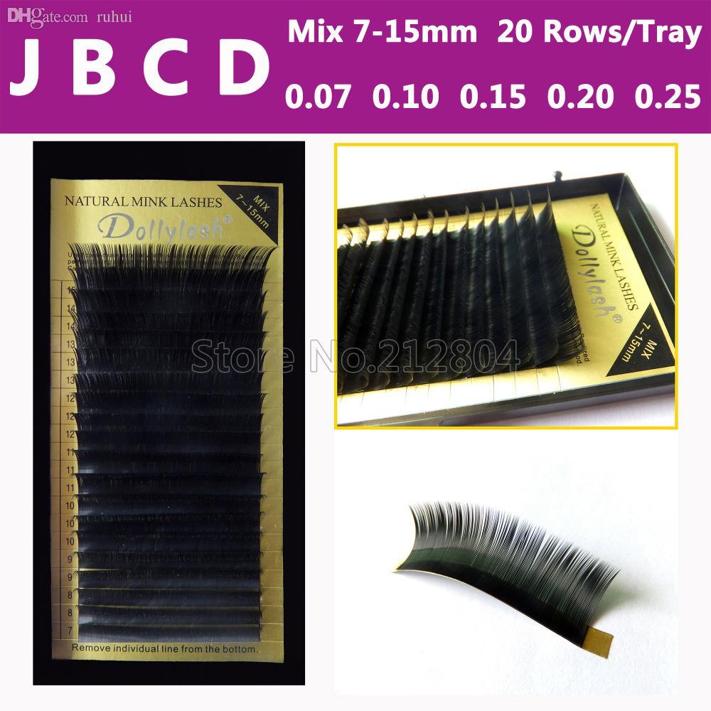 edd66ca4804 Wholesale All Size,7~15mm MIX In One Tray ,20rows/Tray, Mink Eyelash  Extension,Natural Eyelashes,Individual False Eyelash Permanent Eyelash  Extensions Semi ...