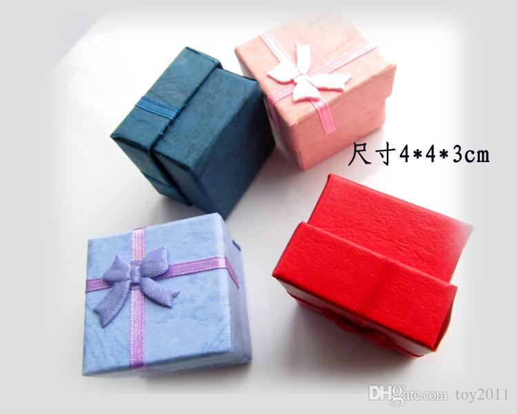 Favor Bag Wholesale Multi colors Jewelry Box, Ring Box, Earrings Box 4*4*3 Packing Gift Box