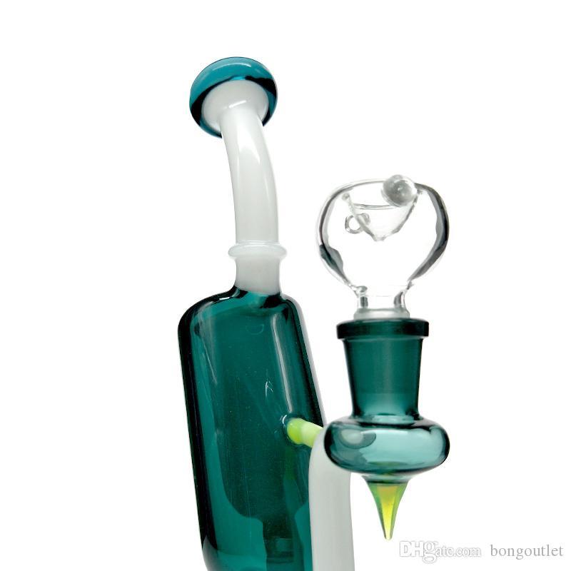 Hohe Qualität Freestyle-Hukahn-Wasserleitungen PERC-Bent-NECT-Glasbongs 8,6 Zoll Höhe