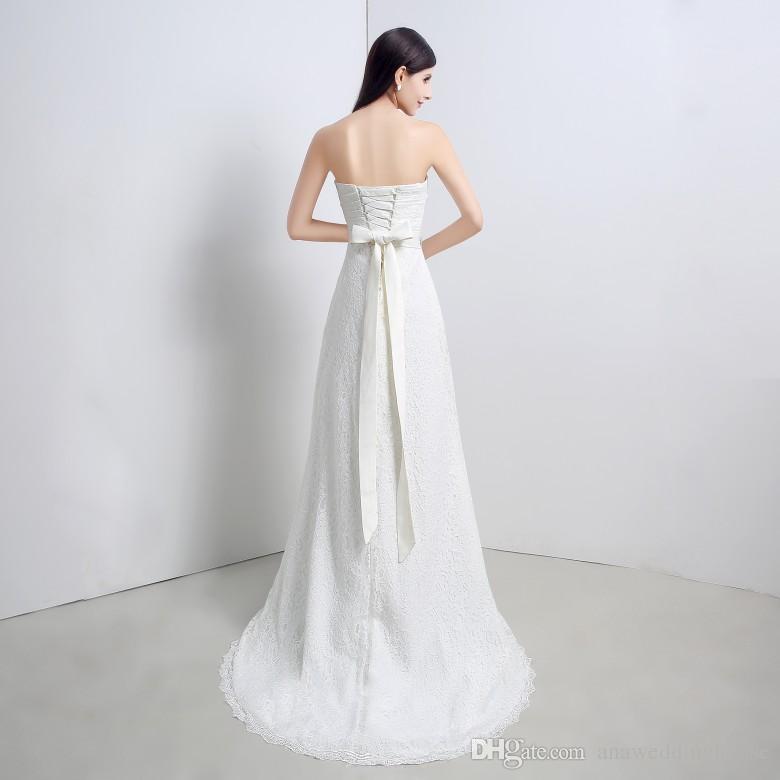 Vestidos De Novia Vestidos de novia Estilo sirena Parte posterior con cordones Cordón Sash Ribbon En stock Imagen real 100% Marfil Vestidos de novia 2015