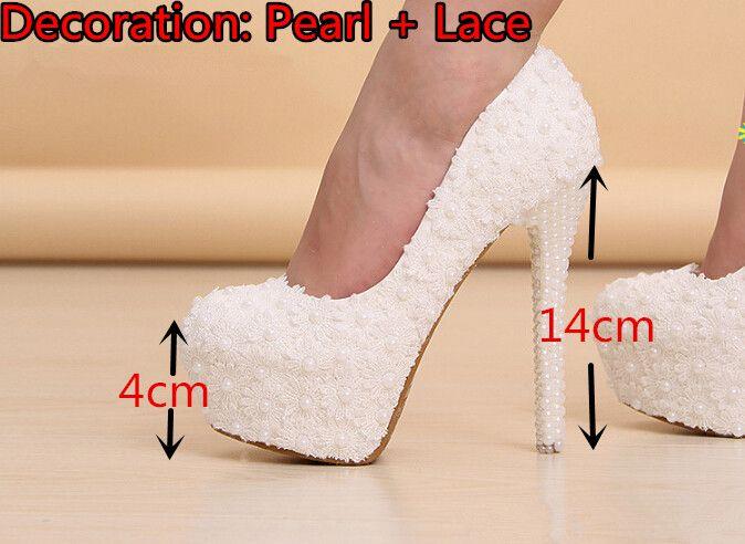 Elegant White Lace Beading Wedding Shoes 4 Inches High Heels ...