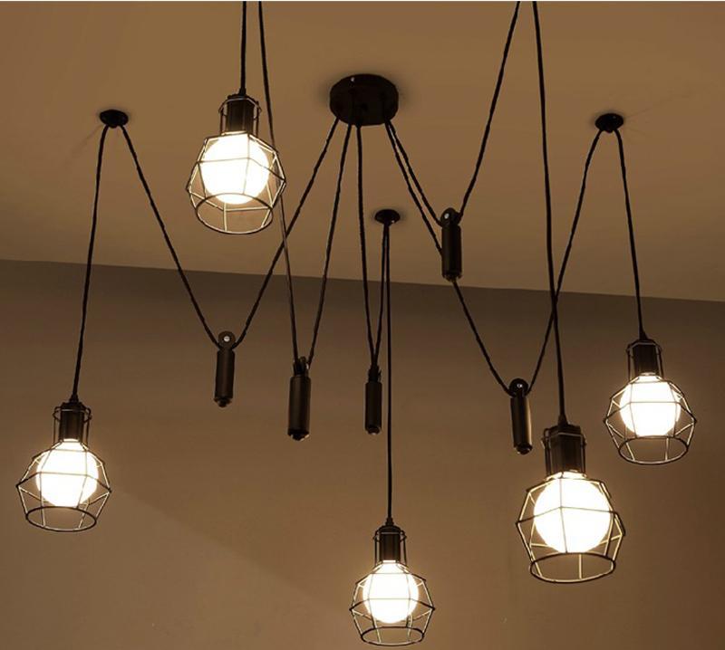 vintage pendant light Novelty spider Pulley pendant Lamp kitchen Bar adjustable Retro chandelier industrial lighting candelabro Dining Room
