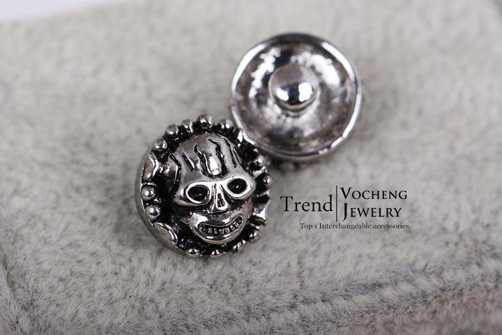 Vocheng noosa 12 ملليمتر المفاجئة الصغيرة للتبادل مجوهرات الجمجمة المعادن زر المفاجئة الزنجبيل المفاجئة مجوهرات