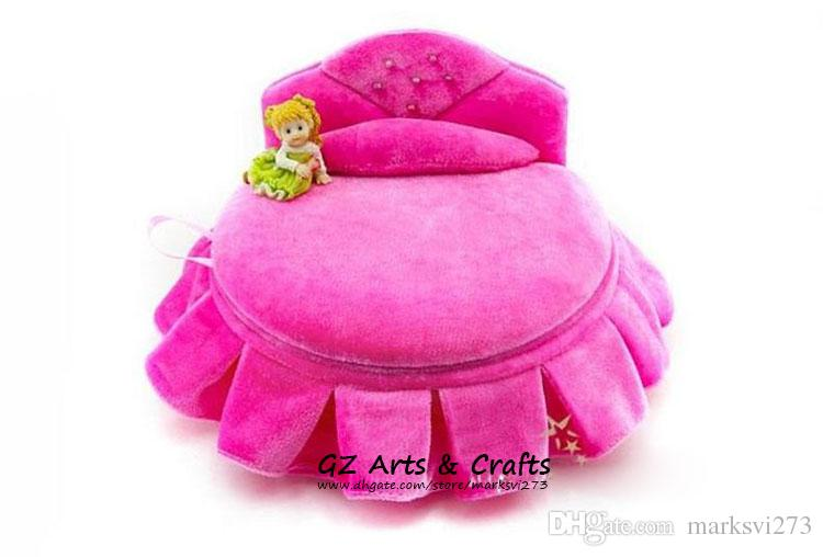 Velvet Sofa Jewelry Box Jewelry Display Stand Pink Jewellery Case Princess Jewellery Gift Box For Stud Earrings Necklace Bracelets