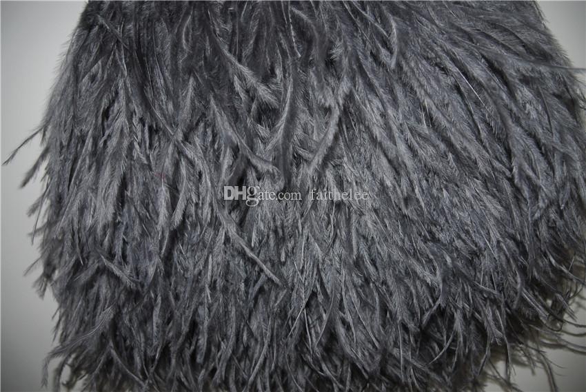 무료 배송 10 야드 / 많은 새틴 헤더 5 - 6inch 12-15cm 너비 팁 - 팁에 프린지 트리밍 프린스 가벼운 graydark 회색 타조 깃털 1 가닥