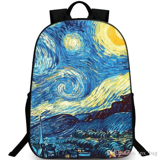 da4d9f57b6767 Satın Al Yıldızlı Gece Sırt Çantası Van Gogh Sırt Çantası Büyük Boyama  Schoolbag Eğlence Sırt Çantası Spor Okul Çantası Açık Gün Paketi, $26.6 |  DHgate.