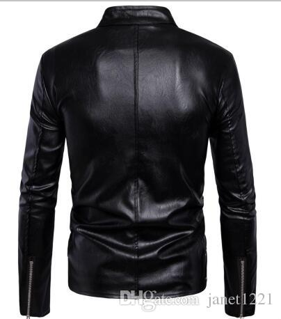High Quality Warm PU Jacket For Men Bomber Motorcycle Jacket For Men Multi Zippers Design Black Leather Homme Jacket Overcats M-5XL T170760