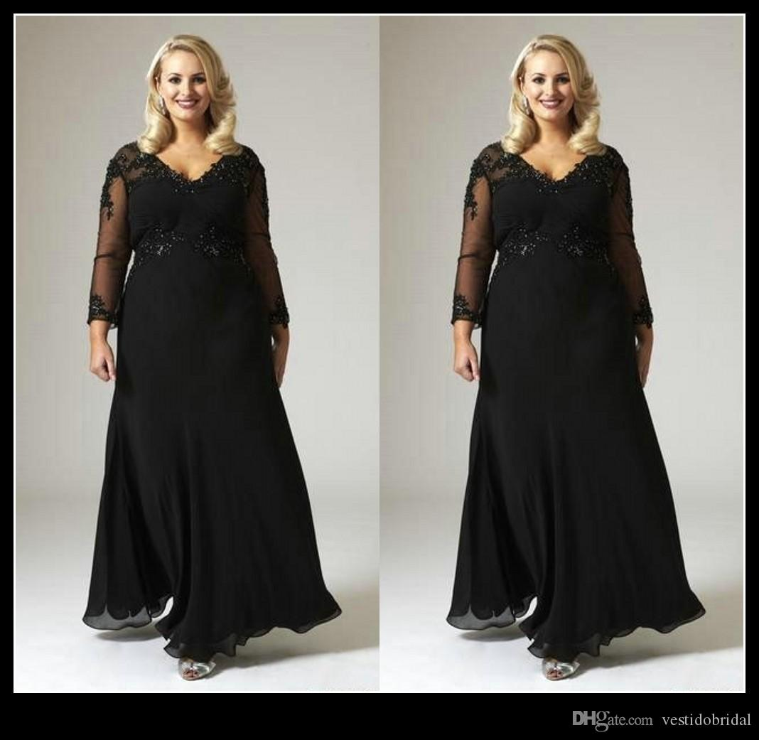 Sexy Plus Size Mother Of Bride Dresses With Long Sleeves ...
