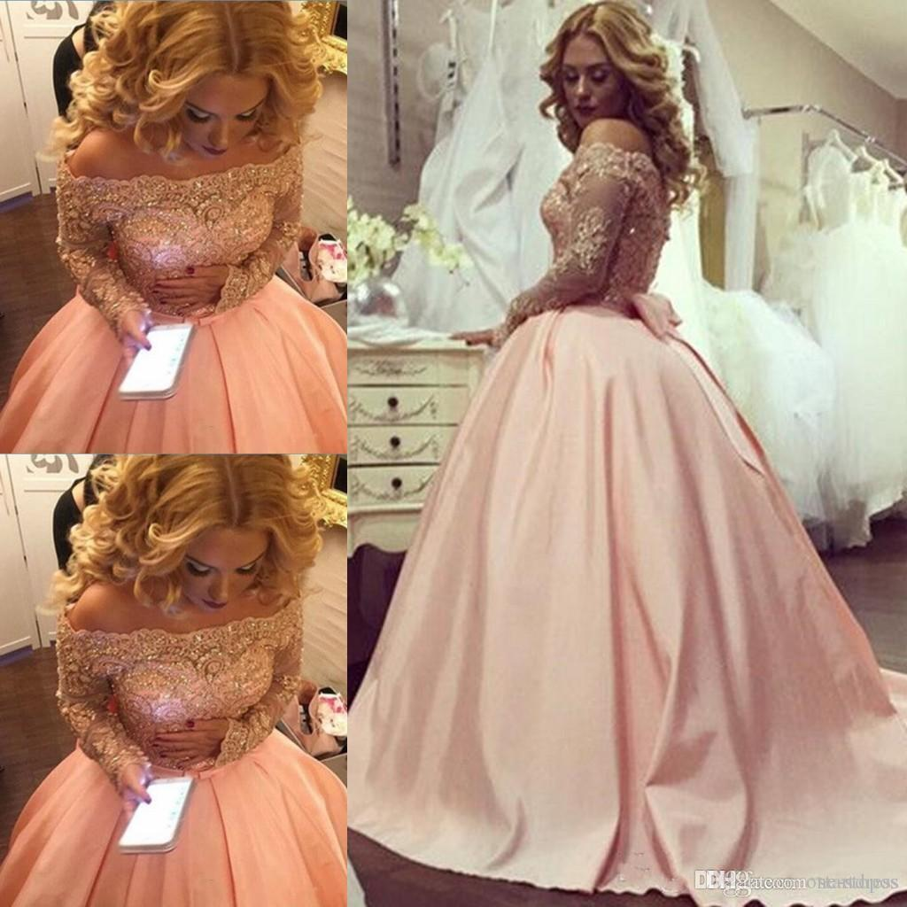 Vintage Orange Sheer Neck Ball Gown Prom Dresses Bateau Long Sleeve Prom Dresses Elegant Lace Formal Party Cheap Quinceanera Dresses Bow