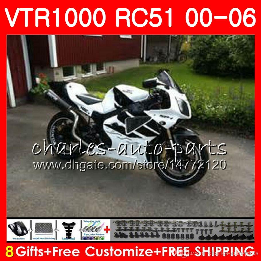 Body For HONDA RTV1000 white black VTR 1000 00 01 02 03 04 05 06 92NO67 VTR1000 RC51 SP1 SP2 00 2000 2001 2002 2003 2004 2005 2006 Fairing